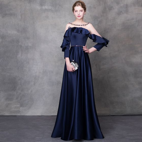 Eleganckie Granatowe Sukienki Wieczorowe 2018 Princessa Kryształ Szarfa Wycięciem Bez Pleców Długie Rękawy Długie Sukienki Wizytowe