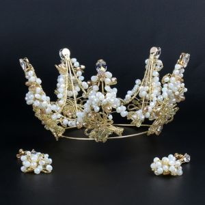 Chic / Beautiful Gold Tiara Beading Wedding Accessories 2019 Metal Bridal Hair Accessories