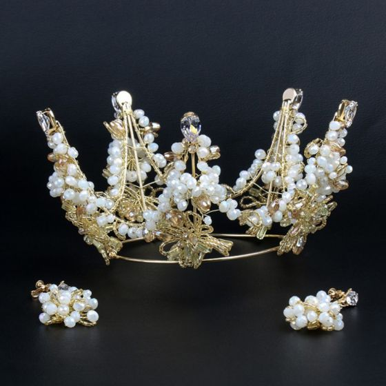 Chic / Beautiful Gold Tiara Beading Wedding Accessories 2019 Metal Bridal Hair Accessories