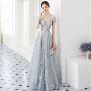 Illusion Silver Evening Dresses  2019 A-Line / Princess U-Neck Short Sleeve Glitter Tulle Metal Sash Floor-Length / Long Ruffle Backless Formal Dresses