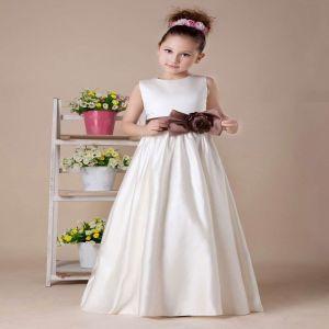 Sleeveless Bow Sash Flower Girl Dress