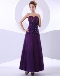 Sweetheart Tulle Ruffle Beaded Applique Floor Length Evening Dresses