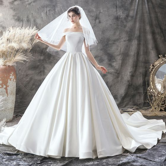 Modest / Simple Ivory Satin Bridal Wedding Dresses 2020 Ball Gown Off-The-Shoulder Short Sleeve Backless Chapel Train