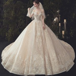 Luxury / Gorgeous Champagne Beading Wedding Dresses 2020 Ball Gown Off-The-Shoulder Sequins Lace Flower Short Sleeve Backless Royal Train