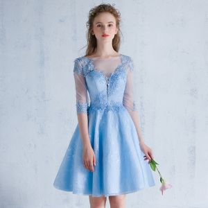 Chic / Beautiful Sky Blue Homecoming Graduation Dresses 2018 A-Line / Princess Appliques Scoop Neck Backless 1/2 Sleeves Short Formal Dresses