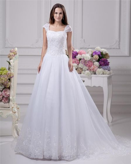 Square Lace Beading Floor Length Satin Women A Line Wedding Dress