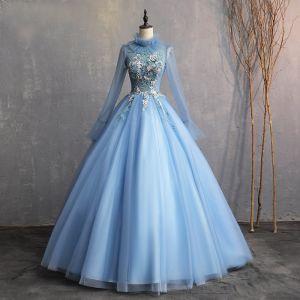 Vintage Himmelblau 2019 A Linie Festliche Kleider Stehkragen Perlenstickerei Perle Applikationen Spitze Lange Ärmel Rückenfreies Lange Ballkleider