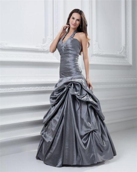 78985c209 Bola Vestido Halter Vestido De Gala Quinceañera De Tafetán Longitud Del  Piso De La Colmena