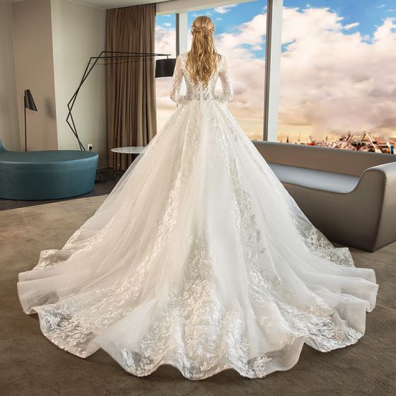 Chinese style Ivory Pierced Wedding Dresses 2019 A-Line / Princess High Neck 3/4 Sleeve Appliques Lace Glitter Tulle Chapel Train Ruffle