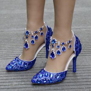c1181e55d7c8 Charmant Bleu Roi Soirée Chaussures Femmes 2018 Cristal Faux Diamant Bride  Cheville 8 cm Talons Aiguilles