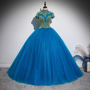 Traditional Ocean Blue Prom Dresses 2020 Ball Gown Scoop Neck Beading Sequins Short Sleeve Backless Floor-Length / Long Formal Dresses