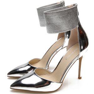 Snygga / Fina Silver Afton Läder Damskor 2020 Lackläder 10 cm Stilettklackar Spetsiga Högklackade
