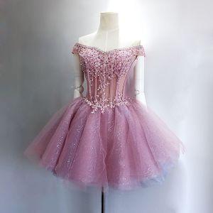 Piękne Fioletowe Sukienki Na Studniówke 2017 Princessa Tiulowe Aplikacje Bez Ramiączek Bez Pleców Frezowanie Homecoming Sukienki Wizytowe