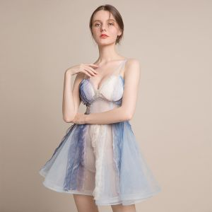 Sexy Champagne Gradient-Color Sky Blue See-through Party Dresses 2018 A-Line / Princess Sleeveless Spaghetti Straps Rhinestone Short Ruffle Backless Formal Dresses