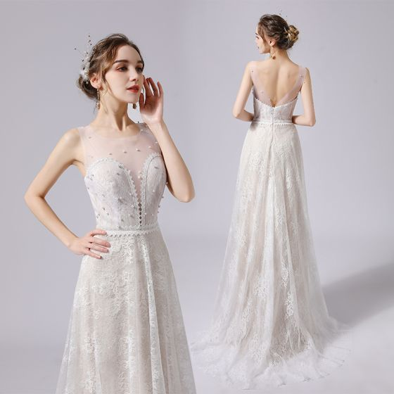 Eleganta Elfenben Pärla Spets Blomma Bröllopsklänningar 2021 Prinsessa Urringning Ärmlös Halterneck Svep Tåg Bröllop