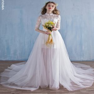wedding dress with detachable train