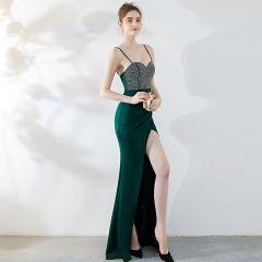 Chic / Beautiful Dark Green Evening Dresses  2019 Trumpet / Mermaid Spaghetti Straps Rhinestone Sleeveless Backless Floor-Length / Long Formal Dresses