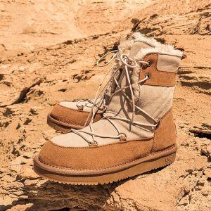 Moda Marrones Botas De Nieve 2020 De lana Cuero Con cordones Mitad De La Pantorrilla Invierno Planos Punta Redonda Botas de mujer
