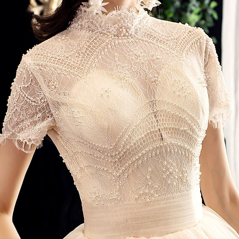 Vintage / Retro Champagne Wedding Dresses 2020 A-Line / Princess High Neck Beading Pearl Lace Short Sleeve Backless Chapel Train