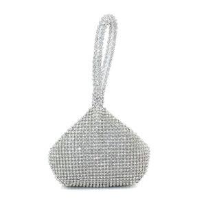 Modern Zilveren Handtassen Kralen Rhinestone Metaal Feest Avond Accessoires 2019