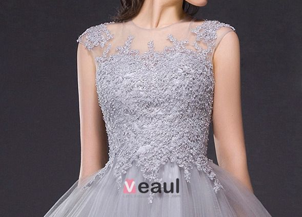 2015 A-line Sleeveless Embroidered Lace Tulle Prom Dress