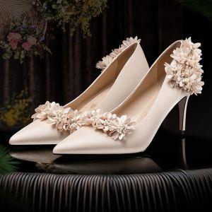 Mode Champagne Bruidsschoenen 2020 Satijn 3D kant Appliques Rhinestone 7 cm Naaldhakken / Stiletto Spitse Neus Huwelijk Pumps