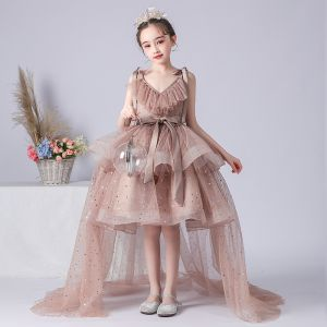 High Low Brown Birthday Flower Girl Dresses 2020 Princess Spaghetti Straps Sleeveless Backless Sequins Asymmetrical Ruffle