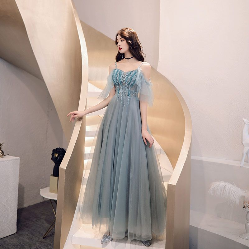 Chic / Beautiful Grey Evening Dresses  2019 A-Line / Princess Spaghetti Straps Beading Appliques Pearl Sequins Short Sleeve Backless Floor-Length / Long Formal Dresses