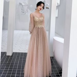Victorian Style Champagne Evening Dresses  2020 A-Line / Princess V-Neck Puffy Long Sleeve Star Sequins Appliques Beading Floor-Length / Long Ruffle Backless Formal Dresses