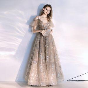 Fashion Khaki Evening Dresses  2020 A-Line / Princess Spaghetti Straps Beading Crystal Lace Sequins Short Sleeve Backless Floor-Length / Long Formal Dresses