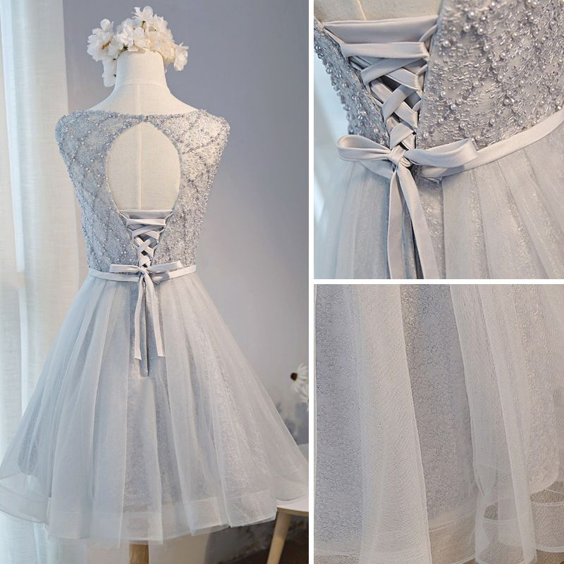 Chic / Beautiful Grey Summer Homecoming Graduation Dresses 2018 A-Line / Princess Beading Pearl Sash Scoop Neck Backless Sleeveless Short Formal Dresses