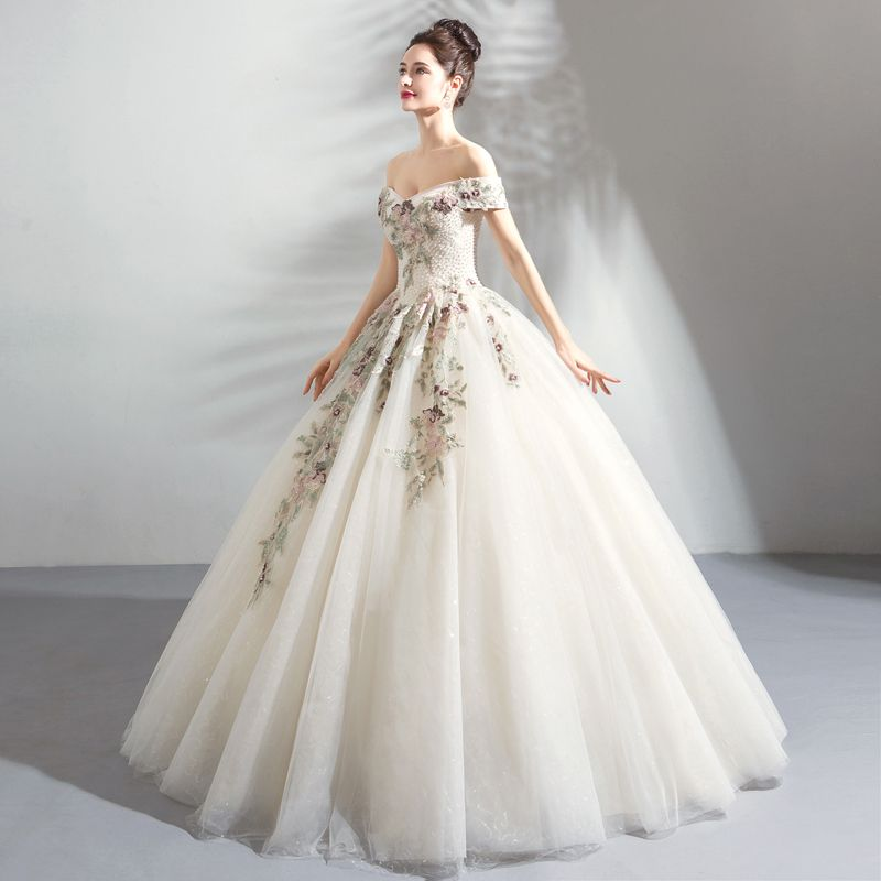 Affordable Champagne Wedding Dresses 2019 Ball Gown Off-The-Shoulder Short Sleeve Backless Appliques Embroidered Pearl Rhinestone Floor-Length / Long Ruffle