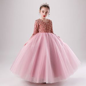 Mooie / Prachtige Candy Roze Winter Verjaardag Bloemenmeisjes Jurken 2020 Baljurk V-Hals Lange Mouwen Roos Goud Pailletten Lange Ruche