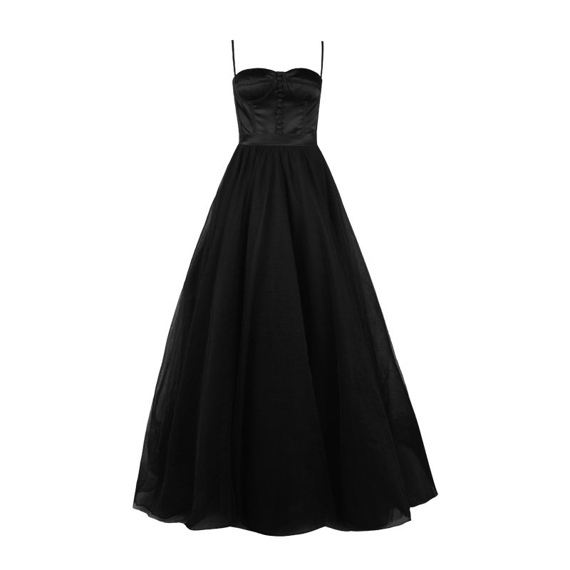 Modern / Fashion Black Evening Dresses  2018 A-Line / Princess Spaghetti Straps Sweetheart Buttons Tulle Court Train Formal Dresses