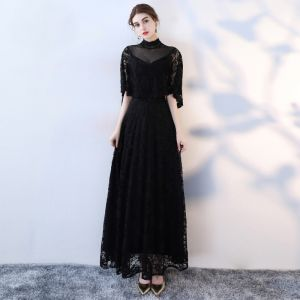 Chic / Beautiful Black Evening Dresses  2019 A-Line / Princess High Neck Lace Flower 1/2 Sleeves Floor-Length / Long Formal Dresses