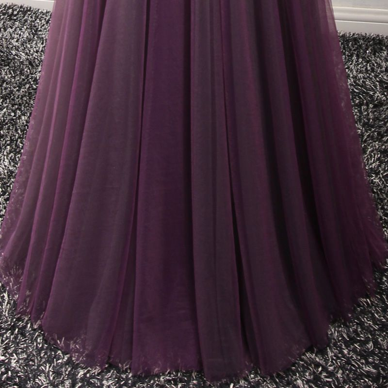 Chic / Beautiful Formal Dresses 2017 Evening Dresses  Grape A-Line / Princess Floor-Length / Long V-Neck Sleeveless Backless Lace Flower Appliques Beading Pearl