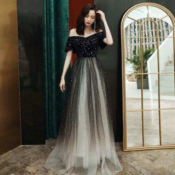 Chic / Beautiful Black Evening Dresses  2020 A-Line / Princess Off-The-Shoulder Short Sleeve Star Embroidered Sequins Floor-Length / Long Ruffle Formal Dresses