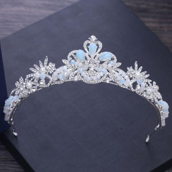 Schlicht Silber Hochzeit Diadem 2018 Metall Perle Strass