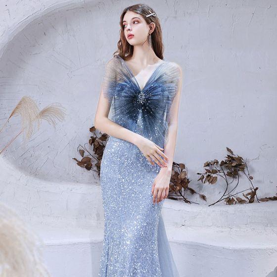 Glitzernden Himmelblau Roter Teppich Abendkleider 2021 Meerjungfrau Herz-Ausschnitt Ärmellos Pailletten Perlenstickerei Glanz Tülle Watteau-falte Rüschen Rückenfreies Festliche Kleider