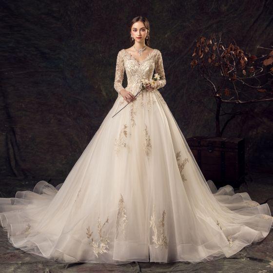 Elegant Champagne Wedding Dresses 2019 A-Line / Princess V-Neck Beading Lace Flower Sequins 3/4 Sleeve Backless Cathedral Train