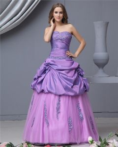 Ball Gown Taffeta Satin Organza Beading Sweetheart Floor Length Quinceanera Prom Dresses