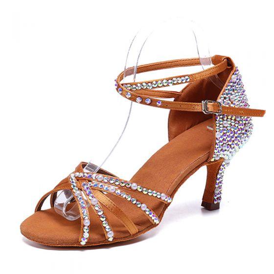 Uroczy Brązowy Rhinestone Latin Buty Taneczne 2020 Satyna Z Paskiem 8 cm Szpilki Peep Toe Taniec Sandały