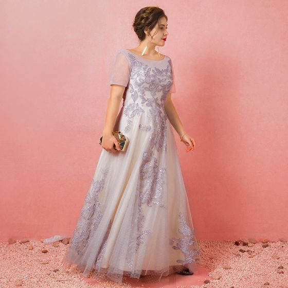 Sparkly Grey Plus Size Prom Dresses 2018 A-Line / Princess U-Neck Tulle Appliques Backless Beading Sequins Evening Party Prom Evening Dresses