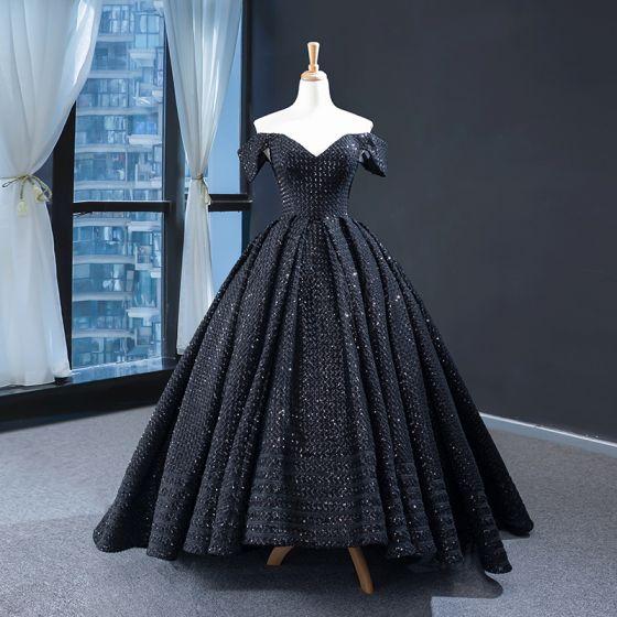 Błyszczące Czarne Sukienki Na Bal 2020 Suknia Balowa Przy Ramieniu odpinany Kótkie Rękawy Cekiny Frezowanie Trenem Sweep Wzburzyć Bez Pleców Sukienki Wizytowe