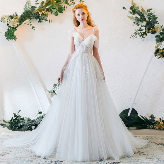 Chic / Beautiful Ivory Evening Dresses  2019 A-Line / Princess Spaghetti Straps Beading Lace Flower Backless Floor-Length / Long Formal Dresses
