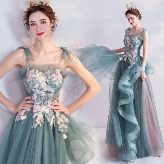 Fashion Mint Green Evening Dresses  2020 A-Line / Princess Spaghetti Straps Pearl Rhinestone Lace Flower Sleeveless Backless Cascading Ruffles Floor-Length / Long Formal Dresses