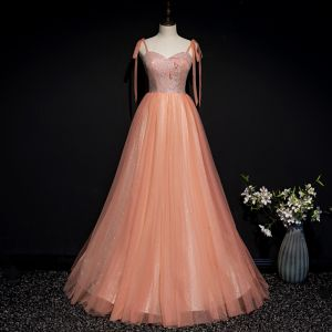 Chic / Beautiful Orange Corset Prom Dresses 2020 A-Line / Princess Spaghetti Straps Sleeveless Appliques Flower Beading Glitter Tulle Floor-Length / Long Ruffle Backless Formal Dresses