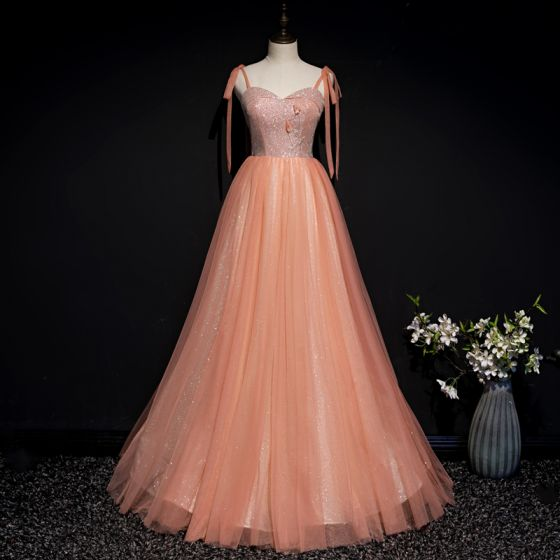 Chic / Beautiful Orange Corset Prom Dresses 2020 A-Line / Princess Spaghetti Straps Sleeveless Appliques Flower Beading Glitter Tulle Floor-Length / Long Ruffle Backless Formal Dresses