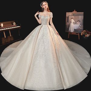 Vintage / Retro Champagne Bridal Wedding Dresses 2020 Ball Gown See-through Scoop Neck Short Sleeve Backless Handmade  Beading Sequins Cathedral Train Ruffle