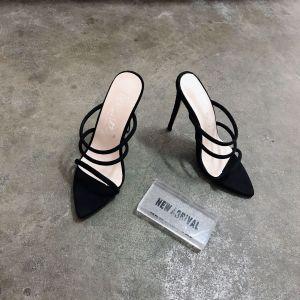 Affordable Black Casual Womens Sandals 2020 12 cm Stiletto Heels Open / Peep Toe Sandals